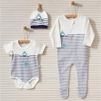 Summer Baby Boy Big Fish Romper Bodysuit Hat 3 pcs Set