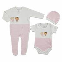 Yaz Kız Bebek Happy Mood 3lü Tulum-Body-Şapka