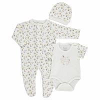 Summer Baby Girl Flowers Romper Bodysuit Hat 3 pcs Set