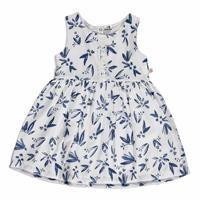 Summer Baby Girl Flower Patterned Short Sleeve Crew-Neck Dress