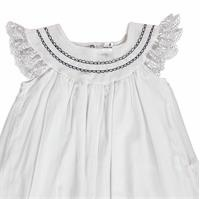 Summer Baby Girl Embroidered Detail Texture Short Sleeve Crew-Neck Dress