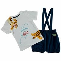 Summer Baby Boy Winnie The Pooh Short Dungarees T-shirt Set
