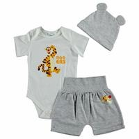 Summer Baby Boy Winnie The Pooh Bodysuit Footless Pant Beret Set