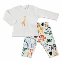 Erkek Bebek Aslanlı İnterlok Uzun Kol Reçme Bisiklet Yaka 2li Pijama Takımı