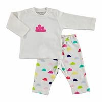 Summer Baby Girl Clouds Interlock Pyjama Set