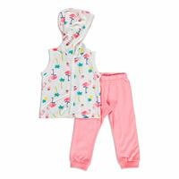 Summer Baby Girl Flamingo Bodysuit Pant 2 pcs Set