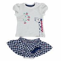 Yaz Kız Bebek Tatlı Kiraz Bluz-Etek Takım
