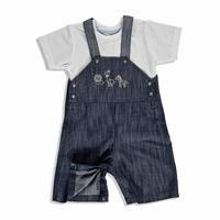 Summer Baby Cute Animals Cotton Short Sleeve Crew Neck Dungarees 2 pcs