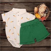 Yaz Erkek Bebek Desenli Müslin Gömlek-Şort Takım