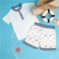 Yaz Erkek Bebek Desenli Müslin Gömlek Şort Takım