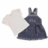 Yaz Kız Bebek Sevimli Hayvanlar Elbise-Tshirt Takım