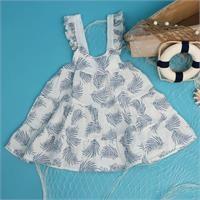 Yaz Kız Bebek Bebek Desenli Müslin Elbise
