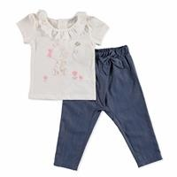 Summer Baby Cute Animals Cotton Short Sleeve Crew Neck Footless Bodysuit Pant 2 pcs Set