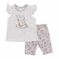 Summer Baby Time Have Fun Cotton Footless Crew Neck T-shirt Leggings 2 pcs Set