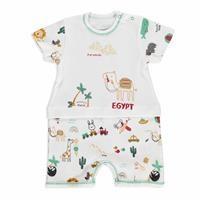 Summer Baby Boy Cute Camel Cotton Short Sleeve Crew-Neck Jumpsuit