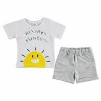 Yaz Erkek Bebek Flamlı Pamuklu Kısa Kol Çıtçıtlı Yaka 2li Tshirt-Şort