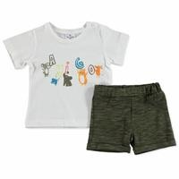 Summer Baby Boy Flamed Cotton Short Sleeve Snap Collar 2 Piece Tshirt-Shorts