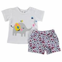 Summer Baby Girl Flamed Cotton Short Sleeve Snap Collar 2 Piece Tshirt-Shorts