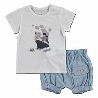 Erkek Bebek Denizci Süprem Kısa Kol Çıtçıtlı Yaka 2li Tshirt-Şort