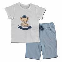 Erkek Bebek Denizci Süprem Kısa Kol Patiksiz Çıtçıtlı Yaka 2li Tshirt-Şort