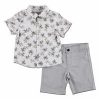 Palm Patterned Cotton Short Sleeve Shirt - Short 2 pcs Set