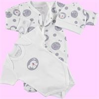 Cute Dog Baby Romper Bodysuit Hat 3 pcs Set