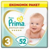 Bebek Bezi Premium Care 3 Beden Midi Ekonomik Paket 6-10 kg 52 Adet