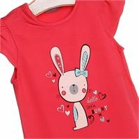 Crew Neck Baby Girl Supreme Rabbit Printed Tshirt
