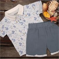 Summer Baby Patterned Muslin Cotton Short Sleeve Crew Neck Shirt Short 2 pcs Set