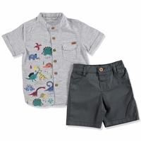 Summer Baby Boy Dino Short Sleeve Shirt Short Set