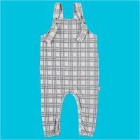 Baby Organic Plaid Pattern Suprem Fabric Dungarees