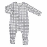 Baby Organic Plaid Pattern Suprem Fabric Footed Romper