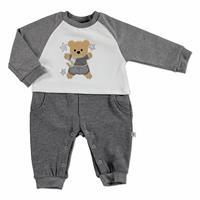 Kış Erkek Bebek Sevimli Nakış Detaylı Patiksiz Tulum