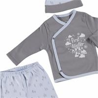 First Winter Baby Boy Bodysuit Hat Footed Pants Set 3 pcs