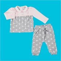 Bebek Jakarlı Puanlı Bebe Yaka İnterlok Sweatshirt Tek Alt 2Li Takım