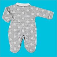 Baby Jacquared Spotted Peter Pan Collar Interlock Footed Romper