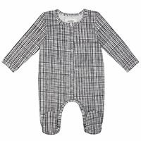 Organic Checkered Baby Long Sleeve Romper