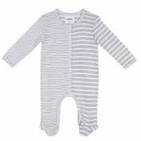 Organic Grey White Striped Long Sleeve Baby Romper