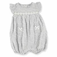 Baby Girl Bow Detailed Texture Short Romper