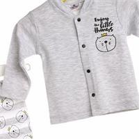 Baby Kedi Önden Çıtçıtlı Patikli Bebek Pijama Takımı