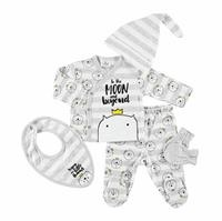 Cat Baby Bodysuit Trouser Hat Gloves Bib Set