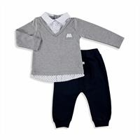 Baby Boy Tie Detailed Sweatshirt Trousers