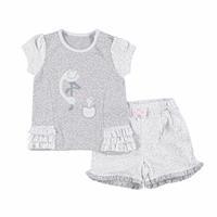 Flamingo Baby Girl Interlock Ruffled Shirt Short Set