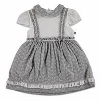 Yaz Kız Bebek Çiçekli İnterlok Kısa Kol Bebe Yaka Tek Elbise
