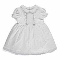 Summer Baby Girl Spotted Interlock Short Sleeve Round Neck Dress