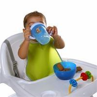 Peva Bebek Mama Önlüğü 2'li Mavi-Yeşil