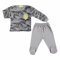 Kış Erkek Bebek Kamuflaj Çıtçıtlı Hırka Patikli Alt 2Li Takım