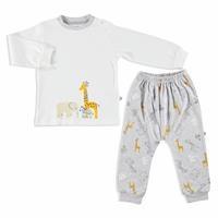 Bebek Zürafa Baskılı İnterlok Sweatshirt Alt 2Li Takım