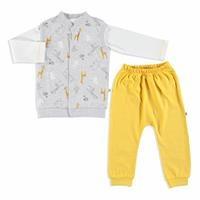 Bebek Zürafa Baskılı İnterlok Sweatshirt Alt Yelek 3Lü Takım