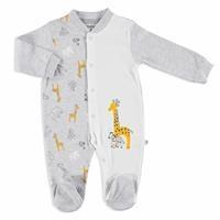 Giraffe Printed Interlock Baby Footed Romper